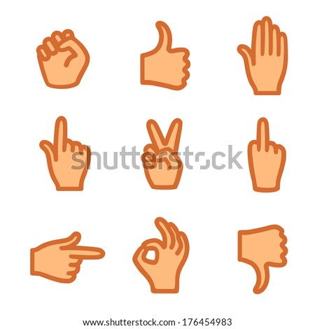 Hand gestures, icons  - stock vector