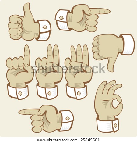 Hand gestures of voting, counting and directions. Vector illustration. - stock vector