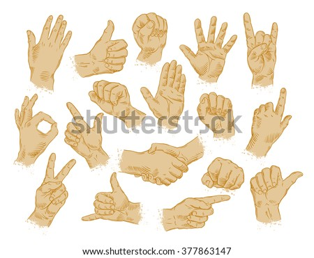 hand gestures. set of vector symbols and icons - stock vector