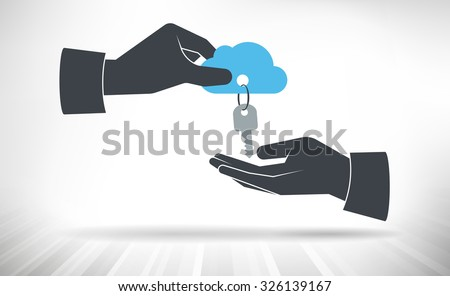 Hand giving keys to cloud. Concept of cloud access handed over from one person to another. - stock vector