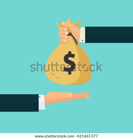 Hand giving money bag to another hand, payment, credit, loan, banking poster vector illustration isolated on blue background, cartoon flat design  - stock vector