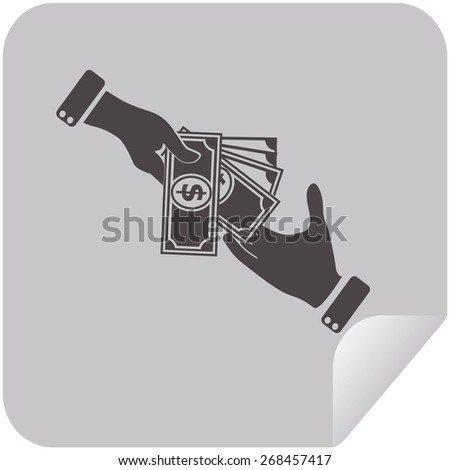 Hand giving money dollar to other hand isolated - stock vector