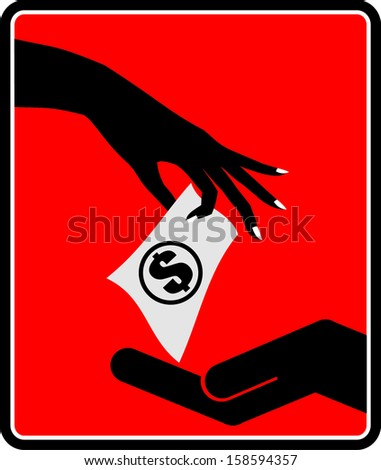 Hand giving money to other hand - stock vector