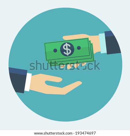 Hand giving money to other hand flat design vector illustration - stock vector
