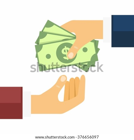 Hand giving money to other hand. Money Transfers, Buying and Selling in flat style. Vector Illustration - stock vector