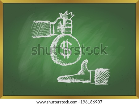 Hand giving money to other hand with blackboard background - stock vector