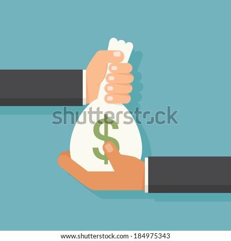 Hand giving money, vector - stock vector