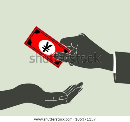 Hand giving money yen to other hand isolated  - stock vector