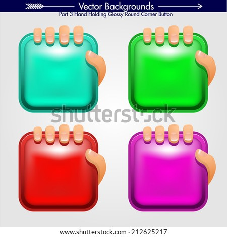 Hand grabbing Square Shape With Round Corners. Vector Design Element. Glossy Background - stock vector