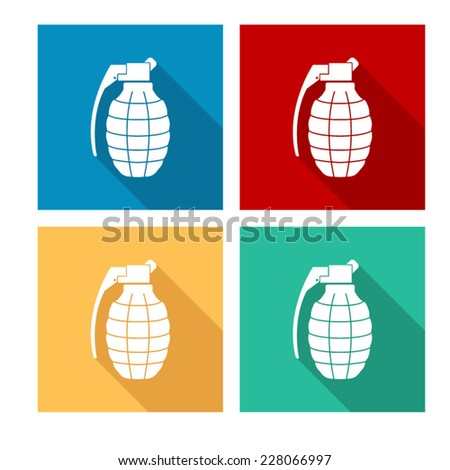 hand grenade - flat icon with long shadow - stock vector