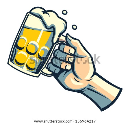 hand hold a glass of beer - stock vector