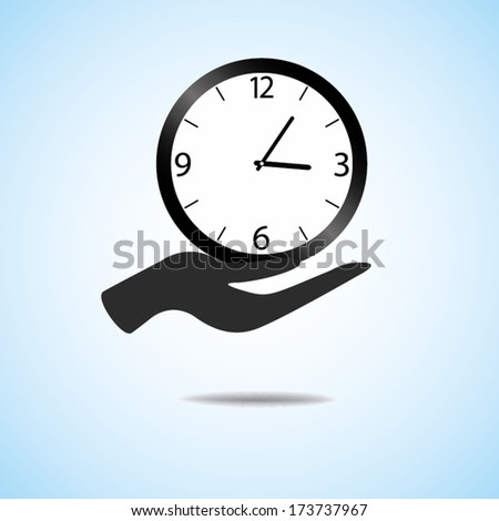hand hold and give clock vector icon  - stock vector