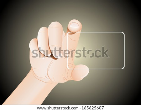 Hand hold blank business card - stock vector
