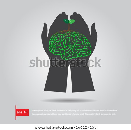 hand hold Brain  tree illustration, tree of knowledge vector icon - stock vector