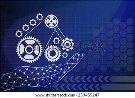 hand hold gear on background technologies, management concept. - stock vector