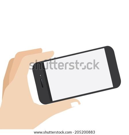 hand hold the blank screen of smartphone - stock vector
