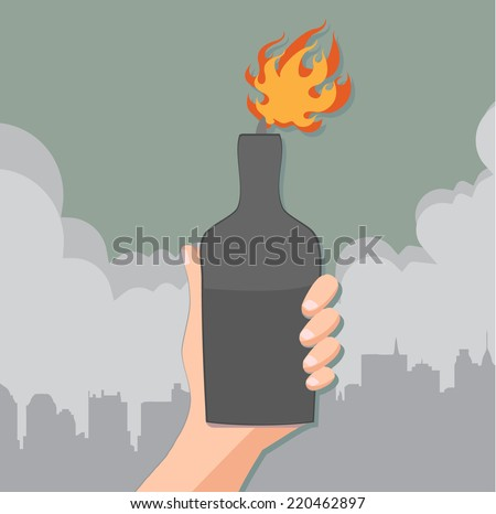 hand holding a bottle with molotov cocktail - concept of protest  - stock vector