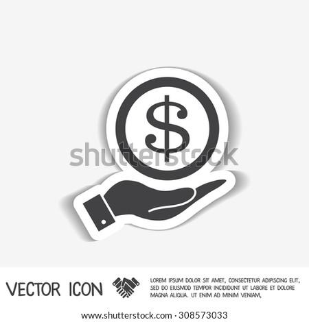 hand holding a Dollar bill. symbol of money - stock vector