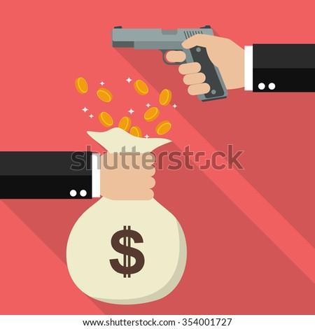 Hand holding a handgun for robbery. Flat style design with long shadow - stock vector