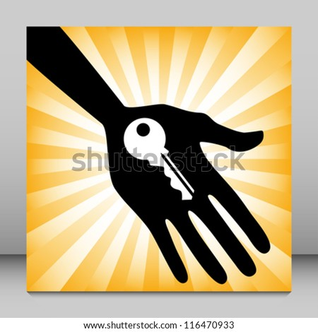 Hand holding a house key design. - stock vector