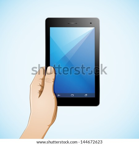 Hand holding a 7 inch tablet - stock vector
