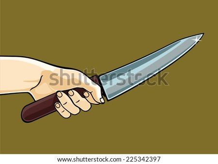 Hand holding a knife - stock vector