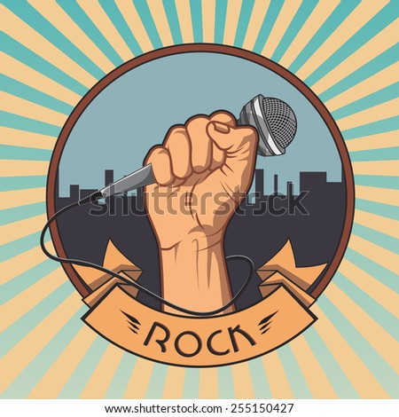 hand holding a microphone in a fist. retro rock poster. vector illustration - stock vector