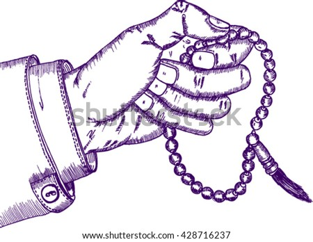 Hand holding a Muslim rosary, sketch - stock vector