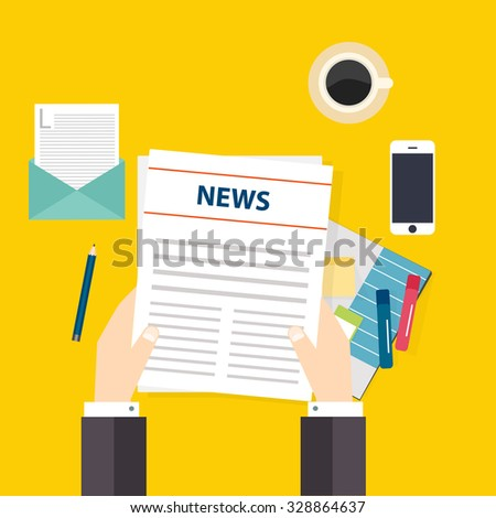 Hand holding a newspaper. Set of vector  icons in flat design style. Vector illustration. - stock vector