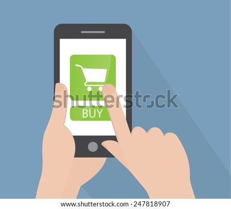 Hand holding a phone - stock vector