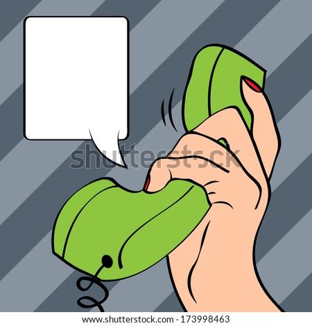 Hand holding a phone, pop art illustration in vector format - stock vector