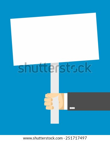 hand holding a sign. - stock vector