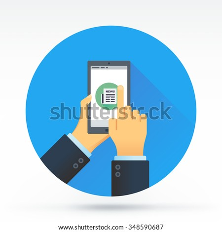 Hand holding a smart phone with newspaper screen. Flat style vector illustration of social media applications. - stock vector