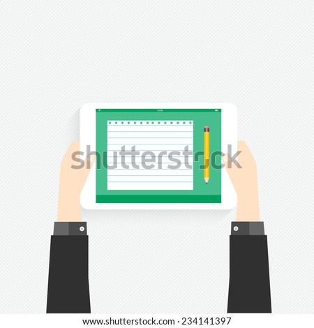 Hand holding a touchpad pc (tablet) with graphic - stock vector
