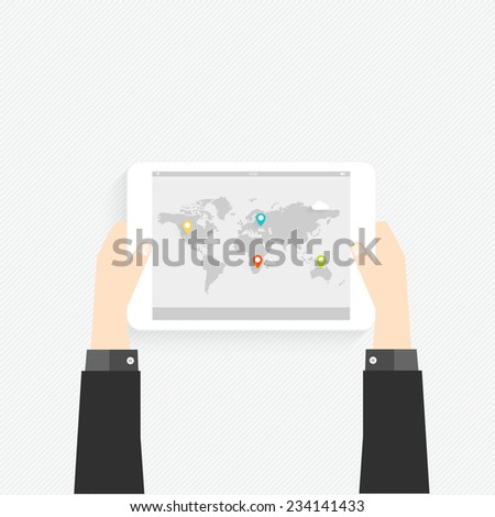 Hand holding a touchpad pc (tablet) with graphic map - stock vector