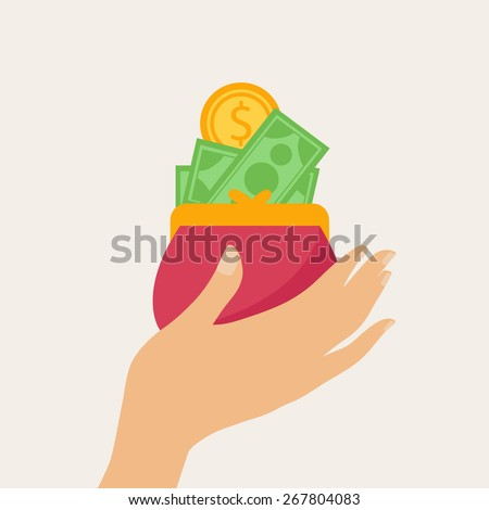 Hand holding a wallet or purse full of money with banknotes and gold dollar coins  - stock vector