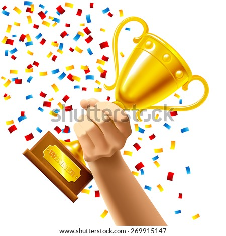 Hand holding a winner trophy cup in multi colored confetti concept vector illustration - stock vector