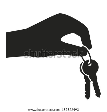 hand holding and giving keys black web icon. vector real estate template - stock vector