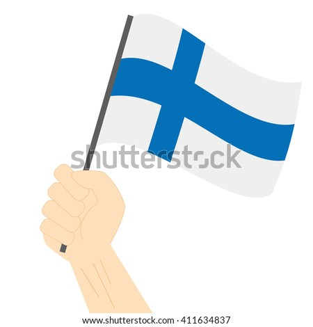 Hand holding and raising the national flag of Finland - stock vector