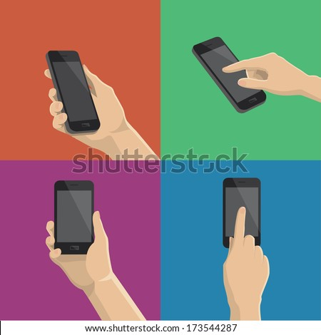 Hand holding and touching a smartphone - stock vector