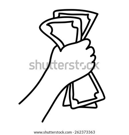 Hand holding Banknotes. Cartoon hand-drawn vector illustration - stock vector