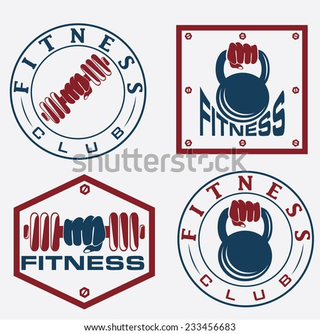 hand holding barbell and kettlebell in emblems of fitness - stock vector