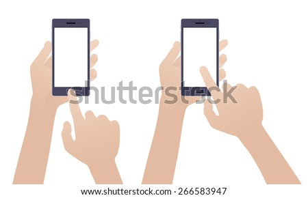 Hand holding black smartphone, touching blank white screen against the white background - stock vector
