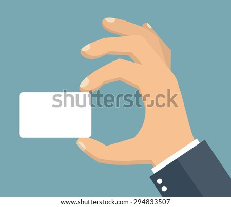 Hand holding blank business card.  Flat style - stock vector