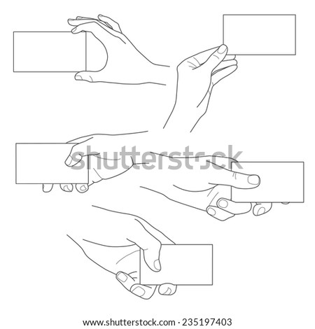 Hand holding blank business card illustrations vector set - stock vector