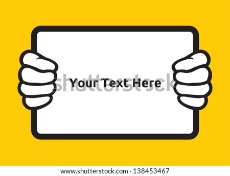 hand holding board - stock vector