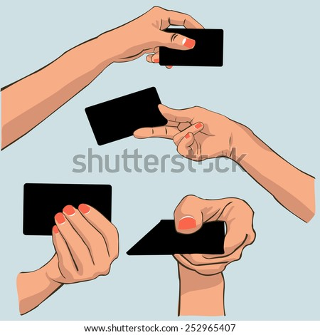 Hand holding card - stock vector