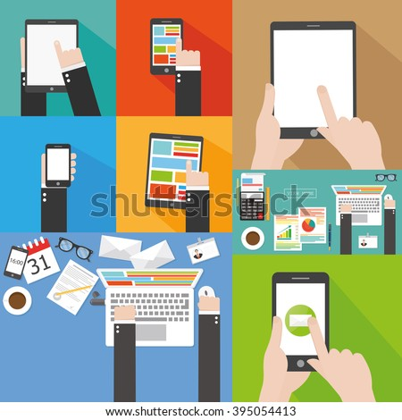 Hand holding computer and communication devices. Flat icon - stock vector