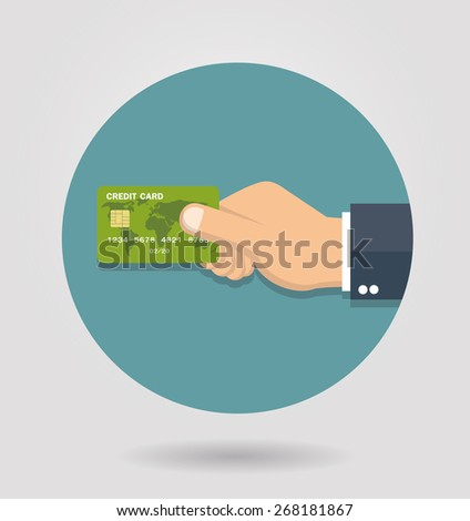 Hand holding credit card icon - Flat style - stock vector