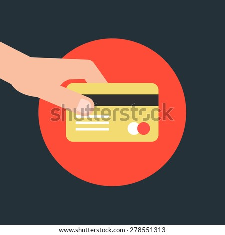 hand holding credit card in red circle. concept of e-commerce, earnings, atm, debt, swipe, deposit, terminal, identification, expend, shopper. flat style trend modern design vector illustration - stock vector